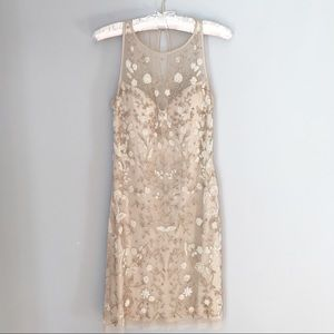 Aidan Mattox Beaded Cocktail Dress Champagne Size4